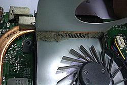 турбина и радиатор ноутбука забиты пылью